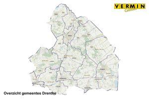 Plattegrond gemeentes in Drenthe waar Vermin Control Ongediertebestrijding werkzaam is.