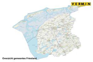 Overzicht gemeentes Friesland waar Vermin Control Ongediertebestrijding werkzaam is.