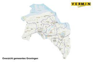 Overzicht gemeentes Groningen waar Vermin Control Ongediertebestrijding werkzaam is.